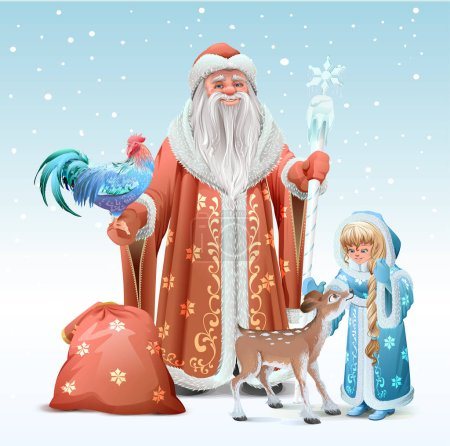 Illustration for Russian Father Frost, Snow Maiden, blue rooster symbol 2017 and fawn. Vector template illustration for greeting card - Royalty Free Image