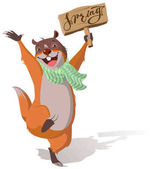 Joyful groundhog jumping and welcomes spring Isolated on white vector cartoon illustration