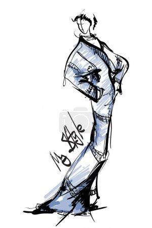 Illustration pour Belle jeune femme élégante en robe longue. Une fille de mode. Belle pose de mannequin. Illustration vectorielle . - image libre de droit