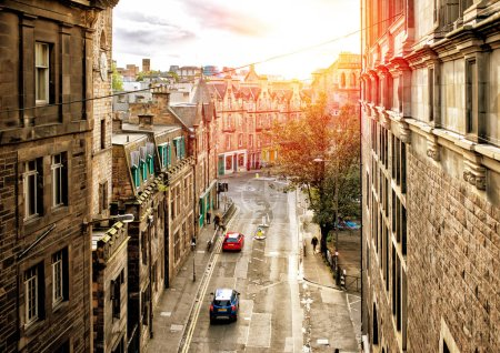 Photo for Street view of Edinburgh in sunset, Scotland - Royalty Free Image