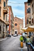 Street view and church of Saint Eufemia in Verona. Italy