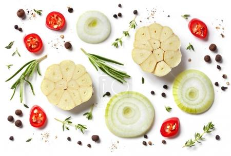 Photo for Fresh vegetables and spices isolated on white background, top view - Royalty Free Image