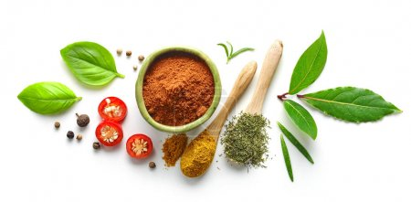 Photo for Various spices isolated on white background, top view - Royalty Free Image