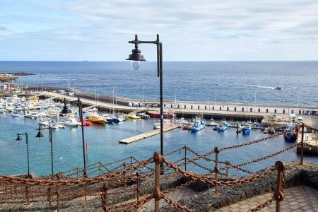 Walking street and yacht dock in Lanzarote Island, Canaries, Spa