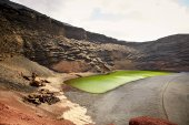 Green volcanic lake Charco de los Clicos at Lanzarote
