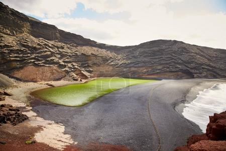 Green volcanic lake Charco de los Clicos at Lanzarote