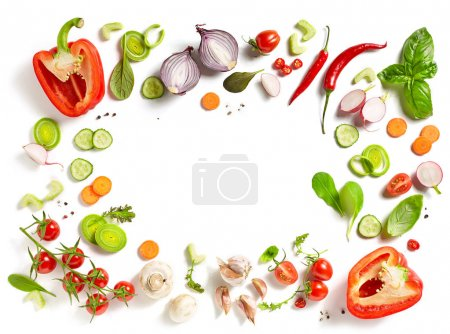 Photo for Various fresh vegetables isolated on white background, top view - Royalty Free Image