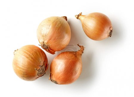 Photo for Fresh raw onions isolated on white background, top view - Royalty Free Image