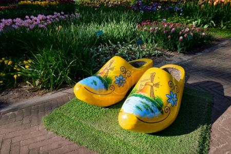 Wooden clogs klompen  in Keukenhof flower garden, Netherlands