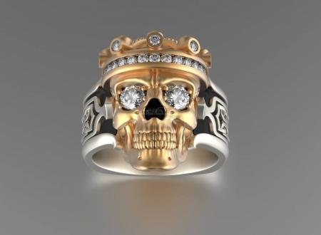 Skull with Diamonds. Jewelry background
