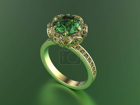 Ring with gemstones. Jewelry background.