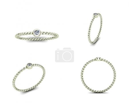 3D illustration gold rings of different angles. Jewelry backgrou