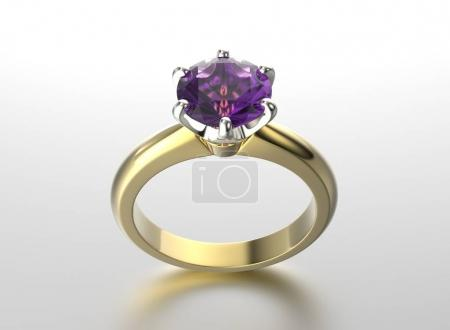 3D illustration gold ring with ultra violet gemstone. Jewelry ba
