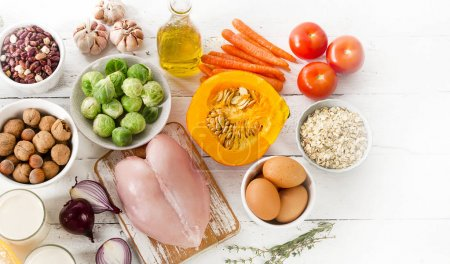 Photo for Balanced diet. Cooking and healthy food concept.  Flat lay - Royalty Free Image
