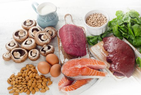 Photo for Foods Highest in Natural Vitamin B2. Healthy diet food. Top view - Royalty Free Image