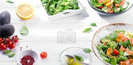 Fresh Salmon salad on a white table
