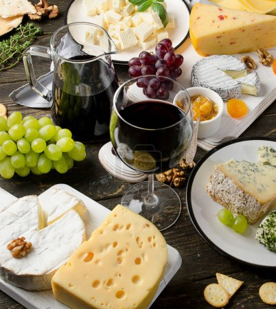 Red wine and assorted cheese