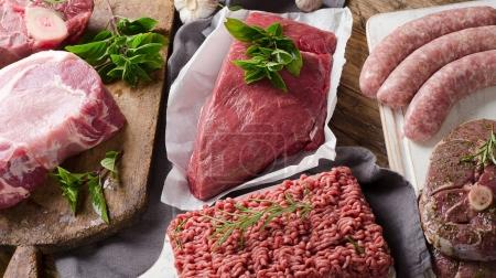 Variety of meat slices