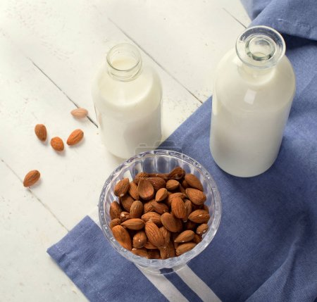 Almond milk and nuts