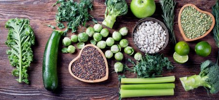 Photo for Mixed vegetables, legumes for healthy cooking. Top view. Vegan and vegetarian food. Diet eating concept. - Royalty Free Image