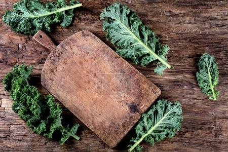 Fresh green kale leaves