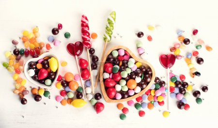 Assorted colorful candies. Top view