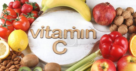 Vitamin C Rich Foods. Top view. Healthty eating concept
