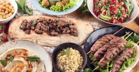 Traditional turkish cuisine. Top view. Middle Eastern food