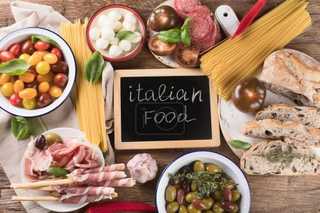 Italian food background. Healthy eating. Top view