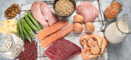 Top view of food high in protein on vintage shabby surface