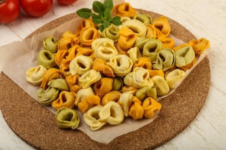 Raw tortellini ready for cooking