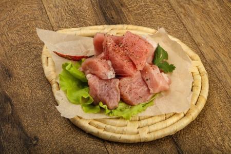 Raw pork pieces