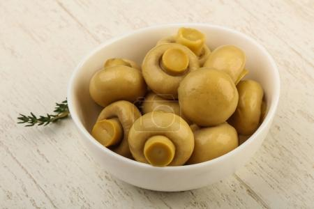Marinated champignons in the bowl