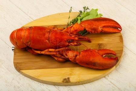Delicous cuisine - Boiled Lobster ready for eat over wooden background