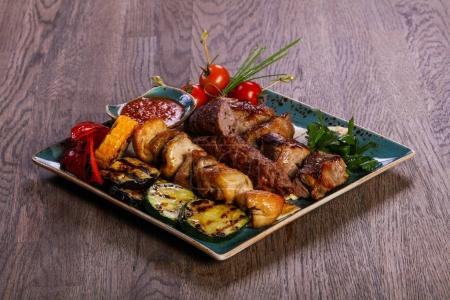 Grilled plate mix assortment meat