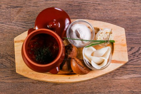 borsht soup with pork fat and garlic