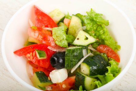 Photo for Greek salad with olives and feta cheese - Royalty Free Image