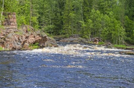 "Rapids ""Edifice"" on Uksun river.  South Karelia, Russia."