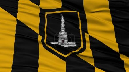 Photo for Closeup of Baltimore City Flag, Waving in the Wind, Maryland State, United States of America - Royalty Free Image