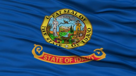 Photo for Closeup Idaho Flag on Flagpole, USA state, Waving in the Wind, High Resolution - Royalty Free Image
