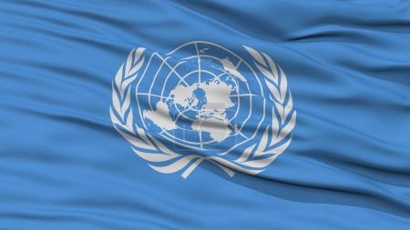 Photo pour Drapeau des Nations Unies de closeup, ondulant dans le vent, haute résolution - image libre de droit