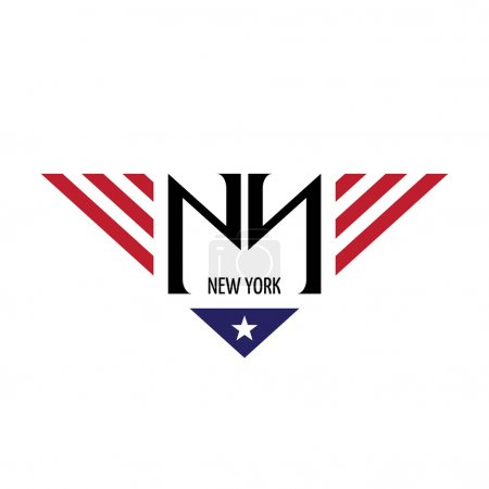 NY initial letters with USA flag