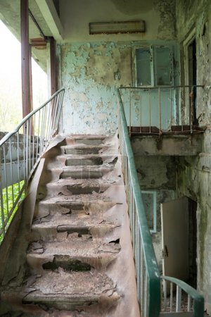 Stairs in abandoned building in Pripyat