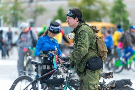 annual city festival bike ride through the streets of Kharkov, Ukraine