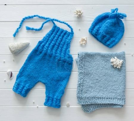 blue pants, blanket for babies, handmade knitted, topview