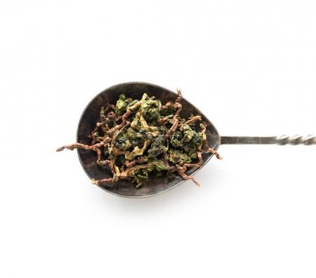 spoon with loose tea of different kinds, topview