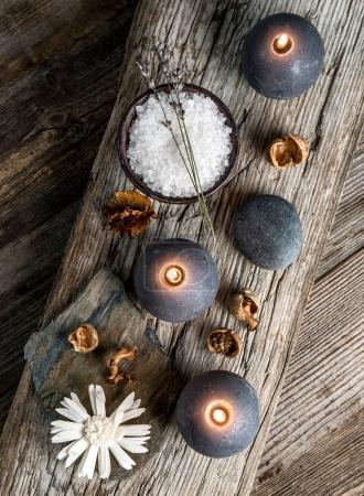 Spa still life on wooden background, top view.