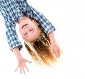 Little fgirl hanging upside down