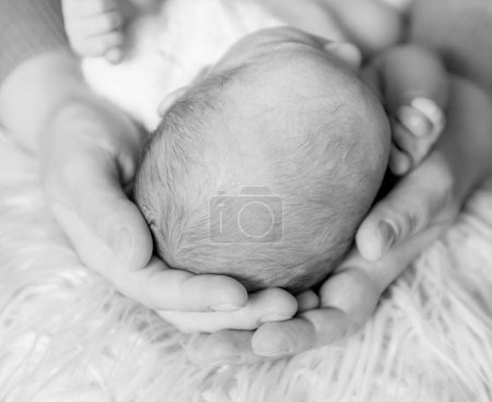 Parents hands tenderly holding babys head