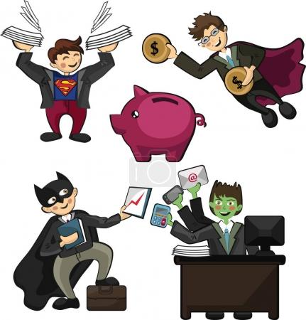 office workers in the form of superheroes, with superpowers work